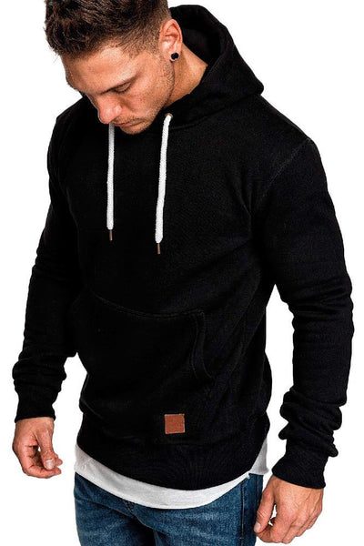 Casual Loose-Fit Pocket Men's Hoodie-S / Black-looksinn