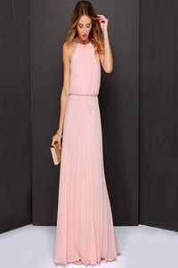 Delicate Pleated Slit Party Dress-S / Pink-looksinn