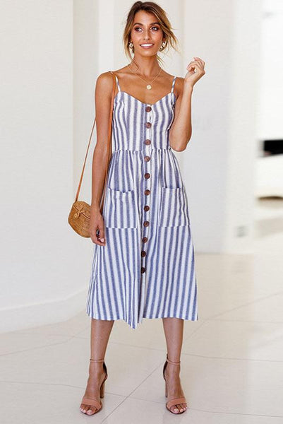 Chic Spaghetti Strap Stripe Day Dress-S / Blue-looksinn