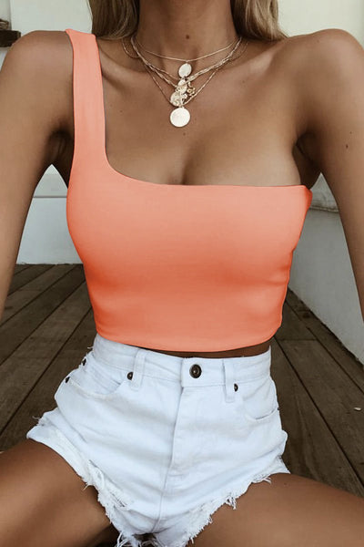 Sexy Short One-Shoulder Tank Top-S / Orange-looksinn