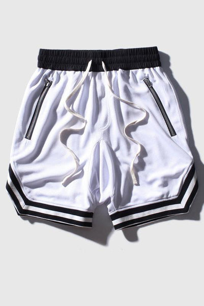 Casual Basketball Hip Hop Breathable Men's Shorts-S / White-looksinn