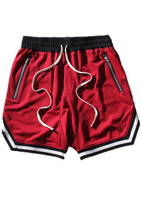 Casual Basketball Hip Hop Breathable Men's Shorts-S / Red-looksinn