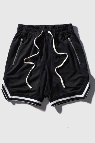 Casual Basketball Hip Hop Breathable Men's Shorts-S / Black-looksinn