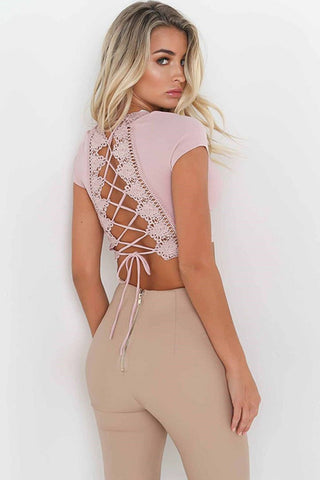 Chic Patchwork Lace-Up Crop Top-S / Pink-looksinn