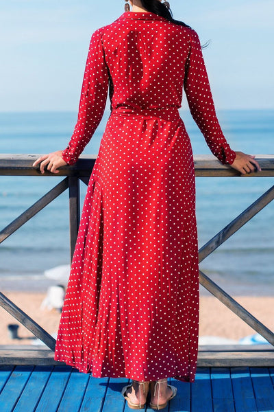 Simple Polk Dots Single-Breasted Maxi Dress(with belt)-[variant_title]-looksinn