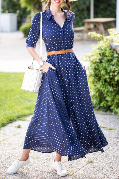 Simple Polk Dots Single-Breasted Maxi Dress(with belt)-S / Dark Blue-looksinn