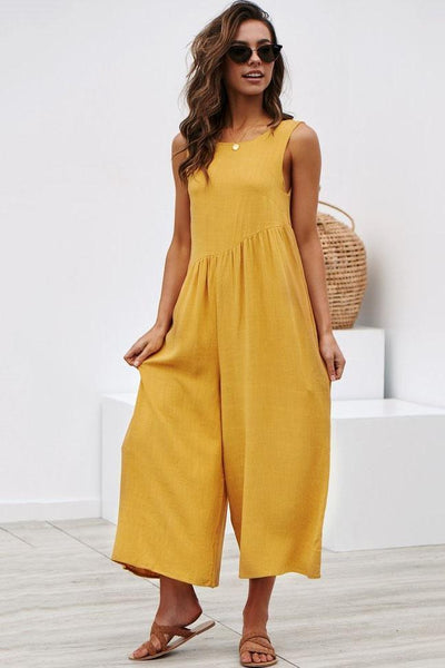 Simple Loose-Fit Backless Jumpsuit-S / Yellow-looksinn