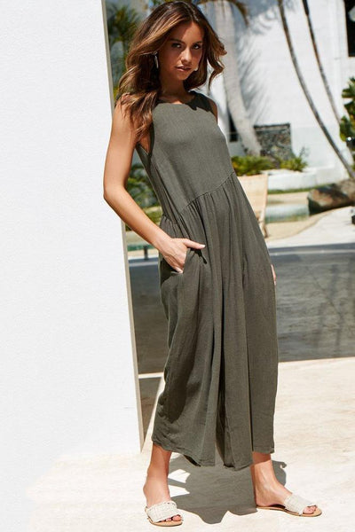 Simple Loose-Fit Backless Jumpsuit-S / Army Green-looksinn