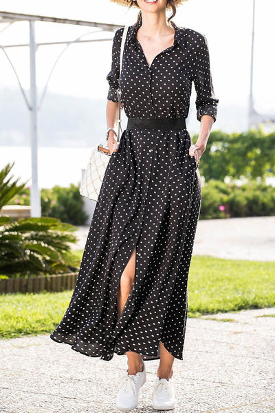 Simple Polk Dots Single-Breasted Maxi Dress(with belt)-S / Black-looksinn