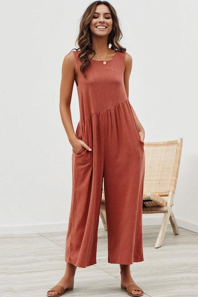 Simple Loose-Fit Backless Jumpsuit-S / Red-looksinn