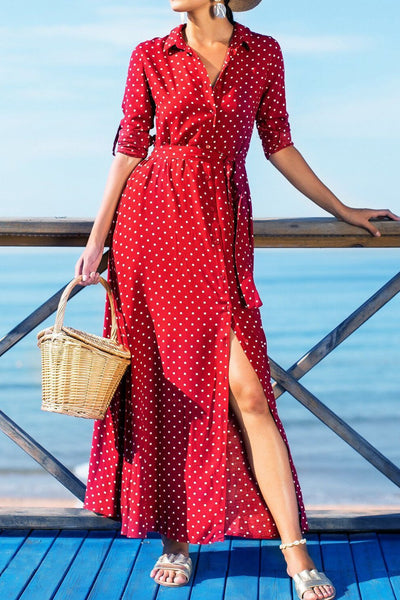 Simple Polk Dots Single-Breasted Maxi Dress(with belt)-S / Red-looksinn