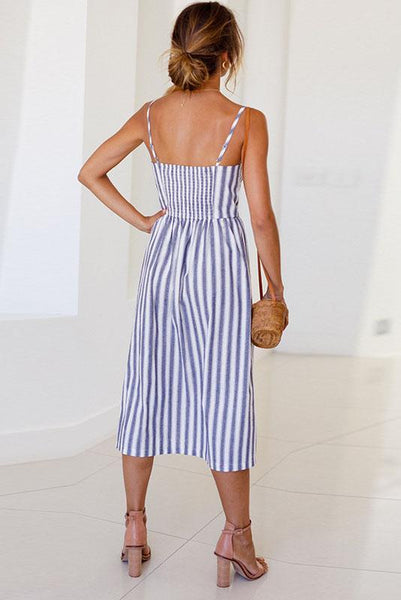 Chic Spaghetti Strap Stripe Day Dress-[variant_title]-looksinn