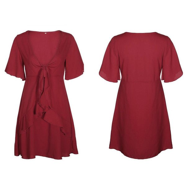 Sexy Tie-Front V-Neck Day Dress-[variant_title]-looksinn