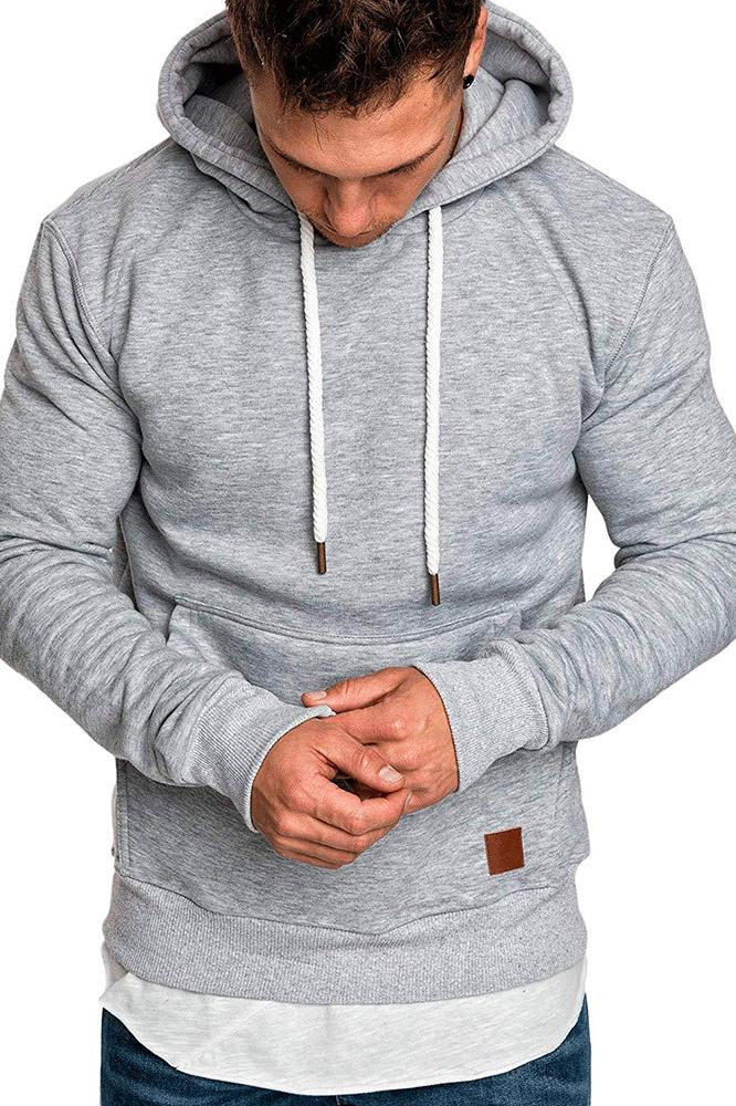 Casual Loose-Fit Pocket Men's Hoodie-S / Light Gray-looksinn