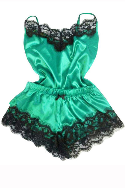 Lace V-Neck Sleeveless Cute Sleepwear Set-S / Green-looksinn