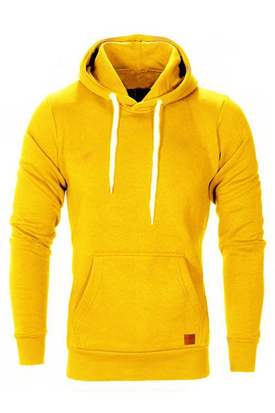Casual Loose-Fit Pocket Men's Hoodie-S / Yellow-looksinn