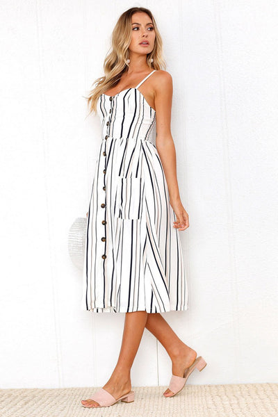 Chic Spaghetti Strap Stripe Day Dress-S / Black-looksinn