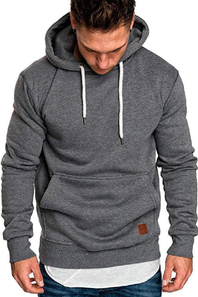 Casual Loose-Fit Pocket Men's Hoodie-S / Dark Gray-looksinn