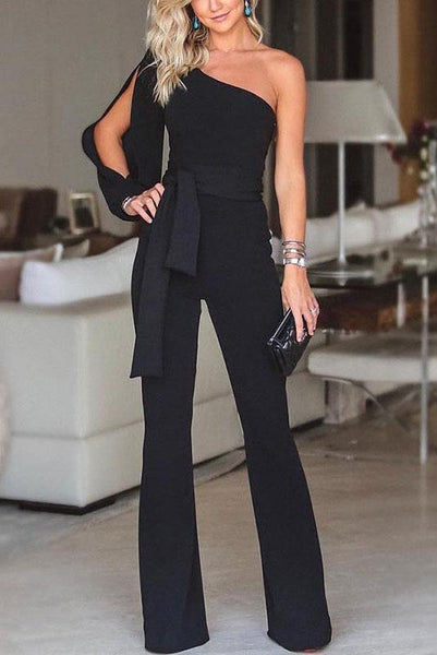 Vogue One-Shoulder Slit Jumpsuit-S / Black-looksinn