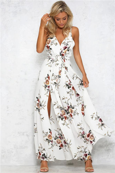 Vogue Printing Wide-Leg Jumpsuit-S / White-looksinn