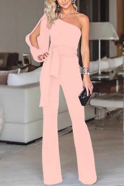 Vogue One-Shoulder Slit Jumpsuit-S / Pink-looksinn