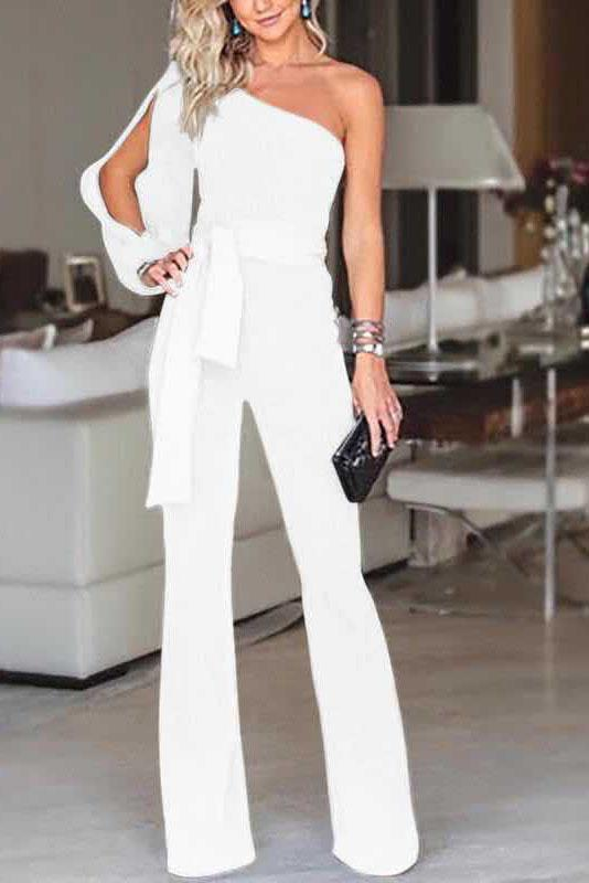 Vogue One-Shoulder Slit Jumpsuit-S / White-looksinn
