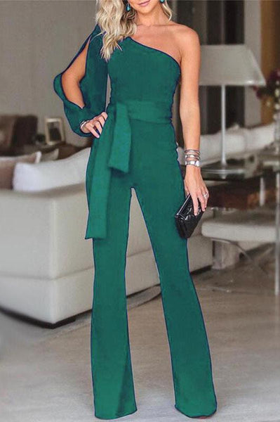 Vogue One-Shoulder Slit Jumpsuit-S / Green-looksinn
