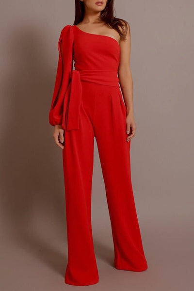Vogue One-Shoulder Slit Jumpsuit-S / Red-looksinn
