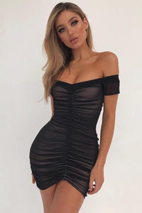Sexy Tie-Front Pleated Club Dress-S / Black-looksinn