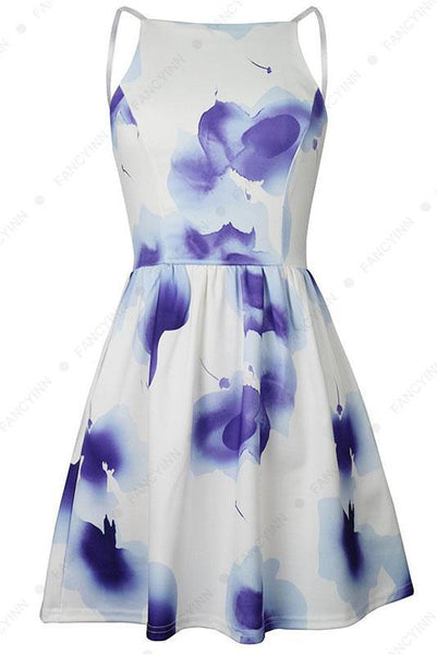 Chic Backless Spaghetti Strap Printing Day Dress-S / Blue-looksinn