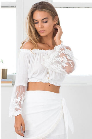 Stylish Lace Patchwork Crop Blouse-S / White-looksinn