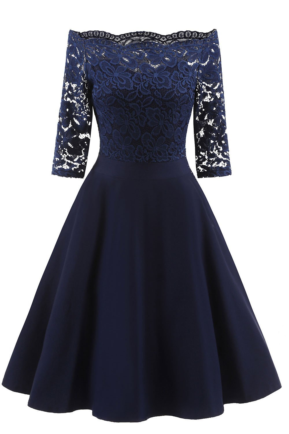 Elegant Off-Shoulder Patchwork Lace Dress-S / Blue-looksinn