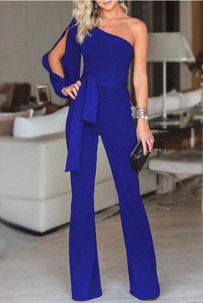 Vogue One-Shoulder Slit Jumpsuit-S / Blue-looksinn