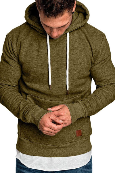 Casual Loose-Fit Pocket Men's Hoodie-S / Army Green-looksinn