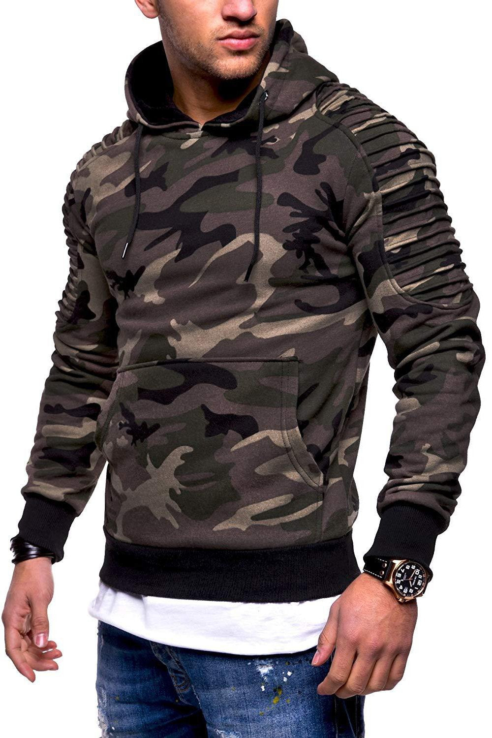 Simple Camouflage Print Pocket Men's Hoodie-M / Army Green-looksinn