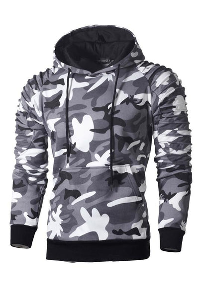 Simple Camouflage Print Pocket Men's Hoodie-M / Light Gray-looksinn