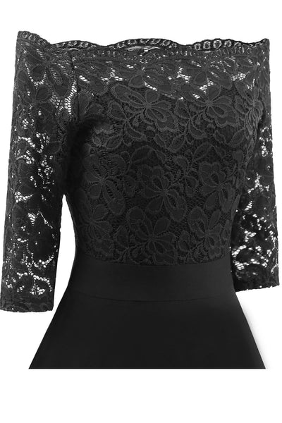 Elegant Off-Shoulder Patchwork Lace Dress-[variant_title]-looksinn