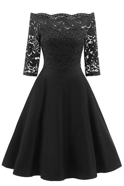 Elegant Off-Shoulder Patchwork Lace Dress-S / Black-looksinn