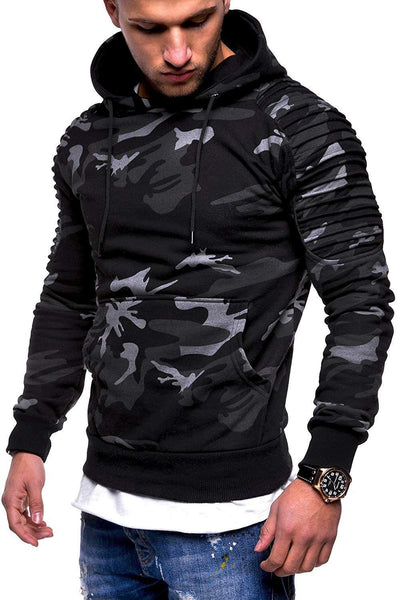 Simple Camouflage Print Pocket Men's Hoodie-M / Dark Gray-looksinn