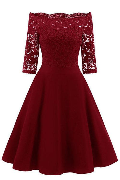 Elegant Off-Shoulder Patchwork Lace Dress-S / Burgundy-looksinn