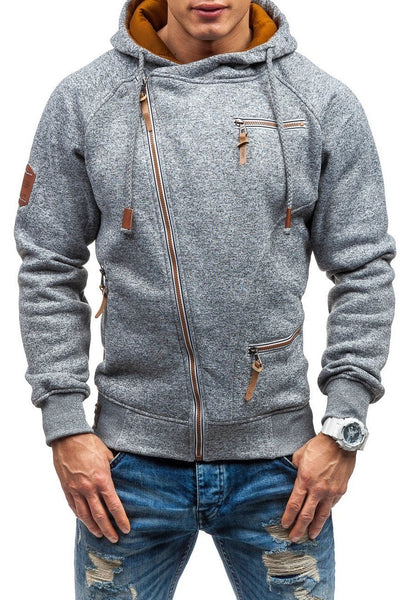 Solid Color Zip-Pocket Thickening Men's Hoodie-S / Light Gray-looksinn