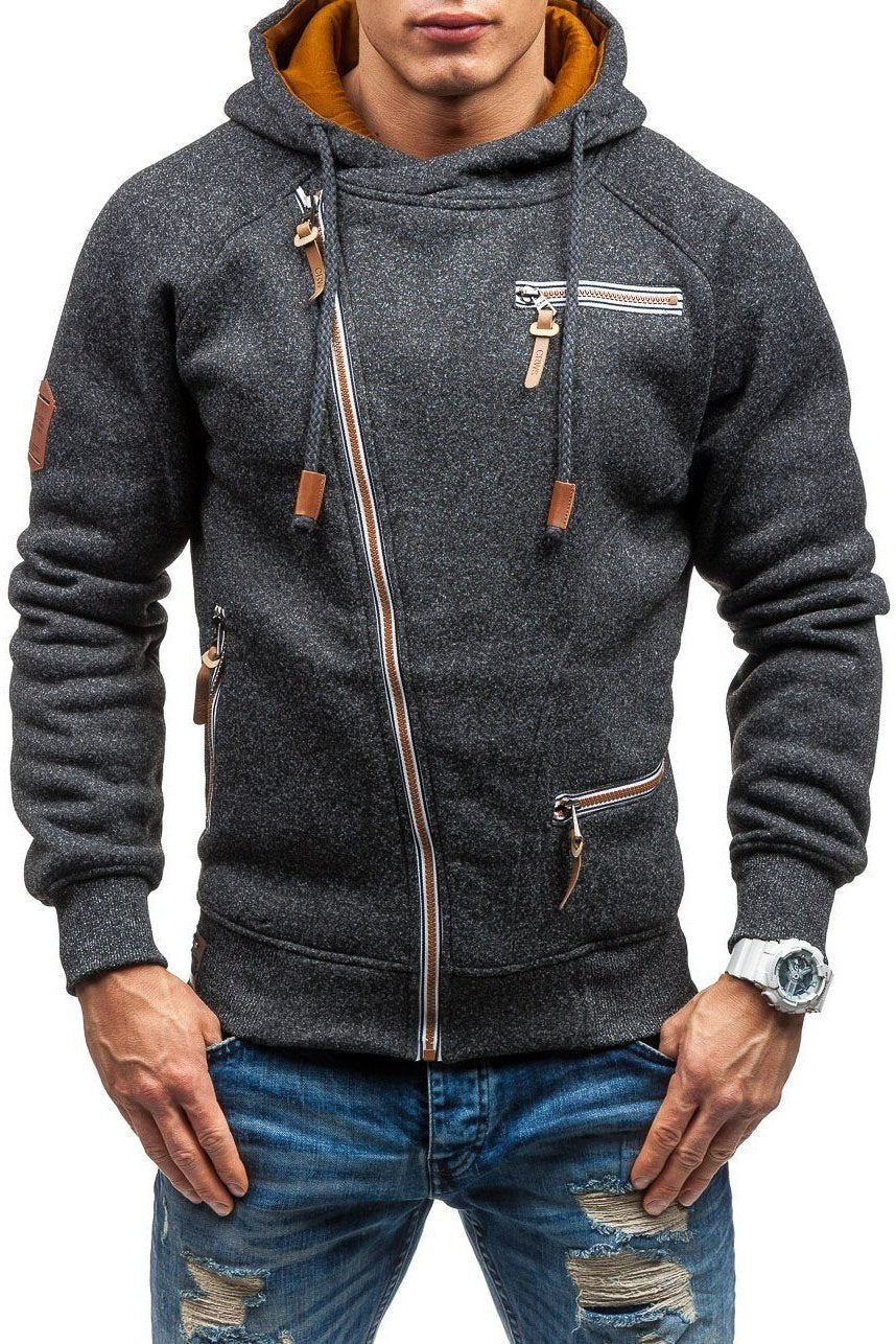 Solid Color Zip-Pocket Thickening Men's Hoodie-S / Dark Gray-looksinn
