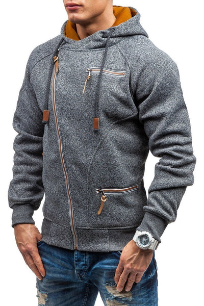 Solid Color Zip-Pocket Thickening Men's Hoodie-[variant_title]-looksinn