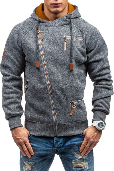 Solid Color Zip-Pocket Thickening Men's Hoodie-S / Gray-looksinn