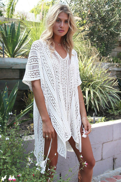 Solid Color Hollow Pullover Cover Up-One-Size / White-looksinn