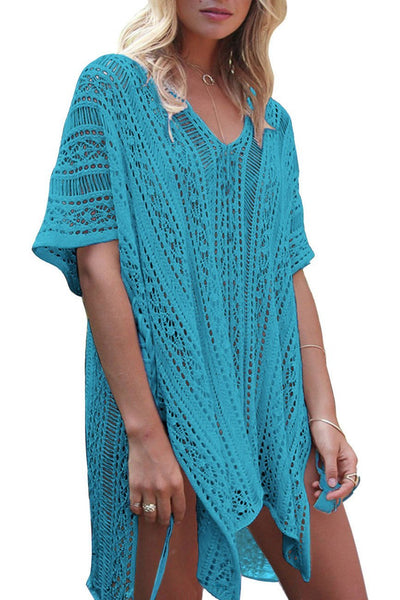 Solid Color Hollow Pullover Cover Up-One-Size / Lake Blue-looksinn