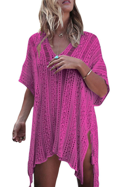 Solid Color Hollow Pullover Cover Up-One-Size / Rose-looksinn