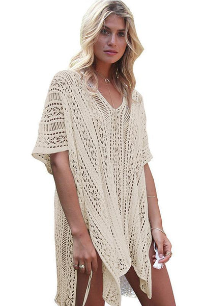 Solid Color Hollow Pullover Cover Up-One-Size / Apricot-looksinn
