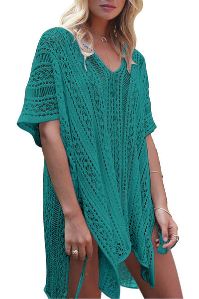 Solid Color Hollow Pullover Cover Up-One-Size / Green-looksinn