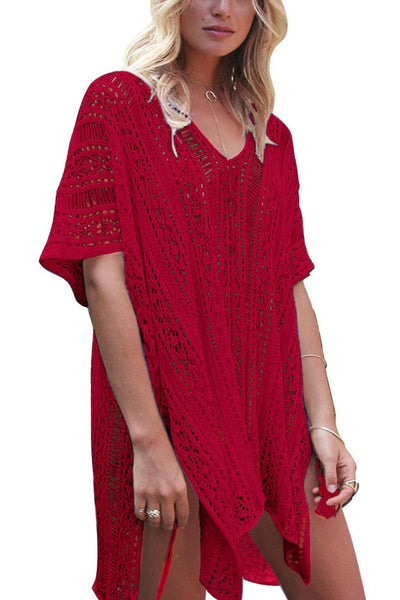Solid Color Hollow Pullover Cover Up-One-Size / Red-looksinn